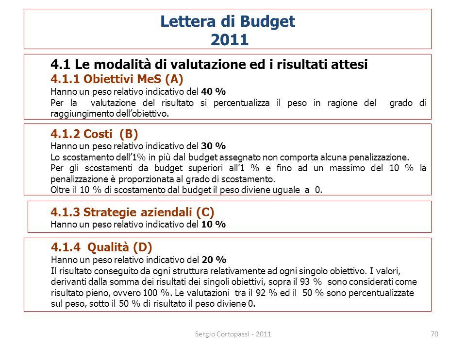 70 Lettera di Budget 2011 4.1 Le modalità di valutazione ed i risultati attesi 4.1.1 Obiettivi MeS (A) Hanno un peso relativo indicativo del 40 % Per
