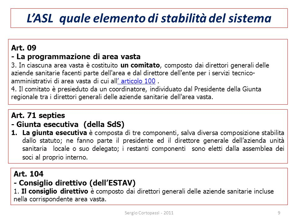 Quote di partecipazione nella SdS: 30 Asl – 1/3 Comuni – 2/3 Vincolo per tutti i soggetti partecipanti alla SdS: PAREGGIO DI BILANCIO Sergio Cortopassi - 2011