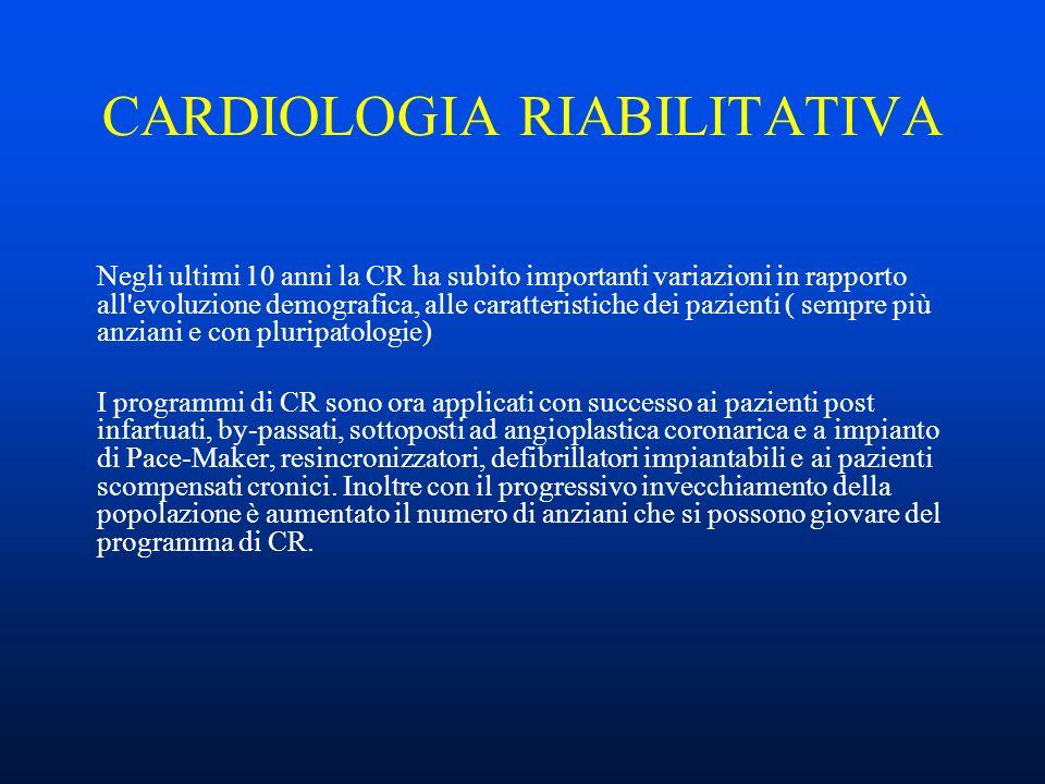 CARDIOLOGIA RIABILITATIVA Negli ultimi 10 anni la CR ha subito importanti variazioni in rapporto all evoluzione demografica, alle caratteristiche dei pazienti ( sempre più anziani e con pluripatologie) I programmi di CR sono ora applicati con successo ai pazienti post infartuati, by-passati, sottoposti ad angioplastica coronarica e a impianto di Pace-Maker, resincronizzatori, defibrillatori impiantabili e ai pazienti scompensati cronici.
