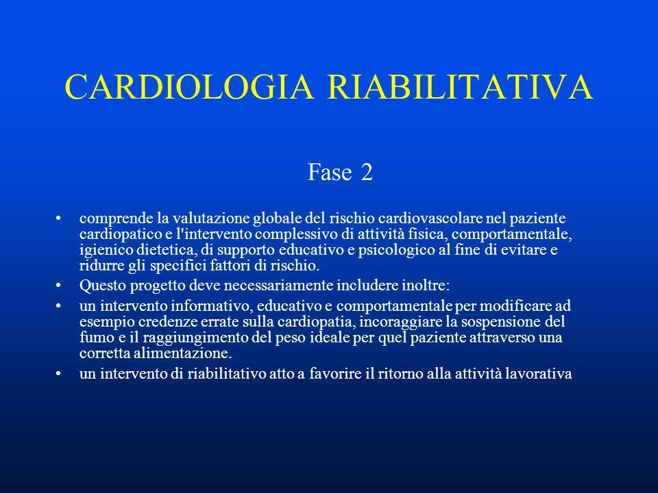 CARDIOLOGIA RIABILITATIVA Fase 2 comprende la valutazione globale del rischio cardiovascolare nel paziente cardiopatico e l intervento complessivo di attività fisica, comportamentale, igienico dietetica, di supporto educativo e psicologico al fine di evitare e ridurre gli specifici fattori di rischio.