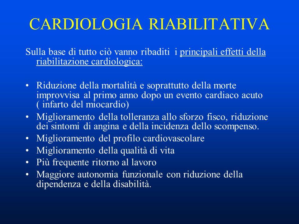 CARDIOLOGIA RIABILITATIVA L intervento di cardiologia riabilitativa può seguire un infarto del miocardio, una rivascolarizzazione coronarica come un by-pass o una angioplastica coronarica, un paziente ricoverato per angina o per scompenso cardiaco, un impianto di Pace maker.