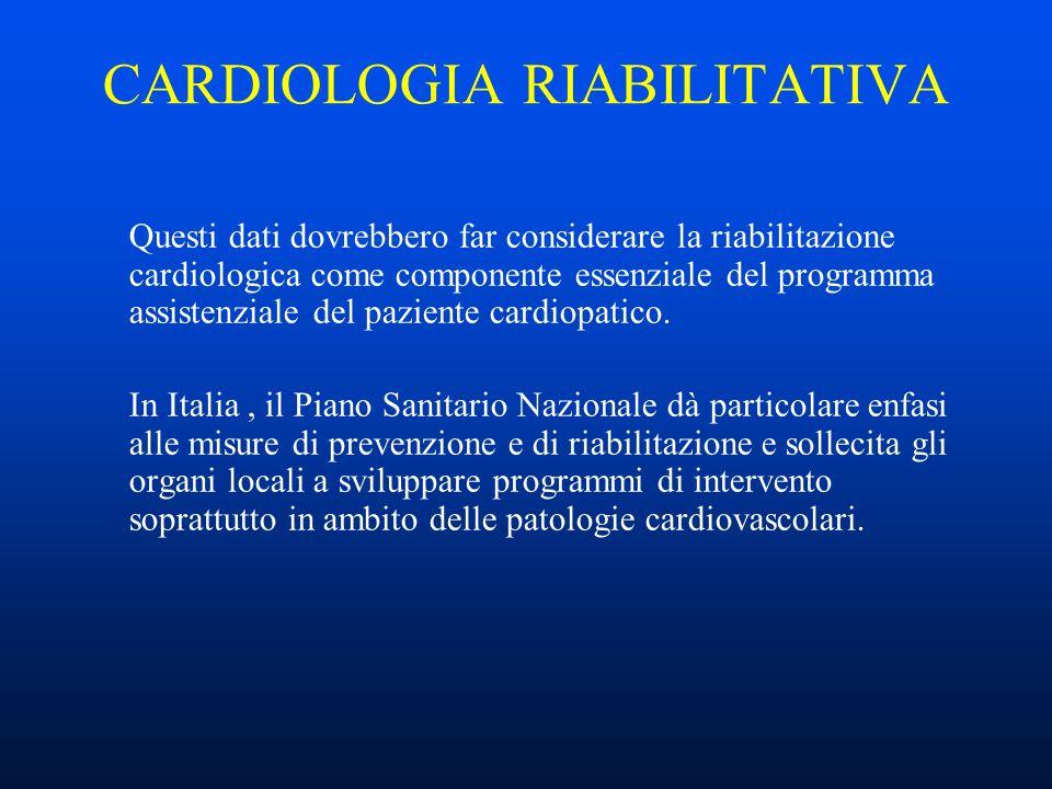 CARDIOLOGIA RIABILITATIVA Questi dati dovrebbero far considerare la riabilitazione cardiologica come componente essenziale del programma assistenziale del paziente cardiopatico.