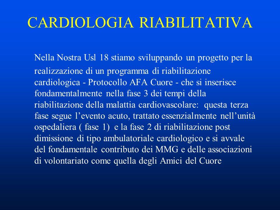 CARDIOLOGIA RIABILITATIVA Nella Nostra Usl 18 stiamo sviluppando un progetto per la realizzazione di un programma di riabilitazione cardiologica - Protocollo AFA Cuore - che si inserisce fondamentalmente nella fase 3 dei tempi della riabilitazione della malattia cardiovascolare: questa terza fase segue levento acuto, trattato essenzialmente nellunità ospedaliera ( fase 1) e la fase 2 di riabilitazione post dimissione di tipo ambulatoriale cardiologico e si avvale del fondamentale contributo dei MMG e delle associazioni di volontariato come quella degli Amici del Cuore