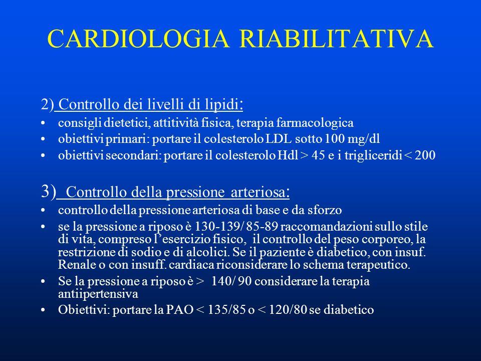CARDIOLOGIA RIABILITATIVA 2) Controllo dei livelli di lipidi : consigli dietetici, attitività fisica, terapia farmacologica obiettivi primari: portare il colesterolo LDL sotto 100 mg/dl obiettivi secondari: portare il colesterolo Hdl > 45 e i trigliceridi < 200 3) Controllo della pressione arteriosa : controllo della pressione arteriosa di base e da sforzo se la pressione a riposo è 130-139/ 85-89 raccomandazioni sullo stile di vita, compreso lesercizio fisico, il controllo del peso corporeo, la restrizione di sodio e di alcolici.
