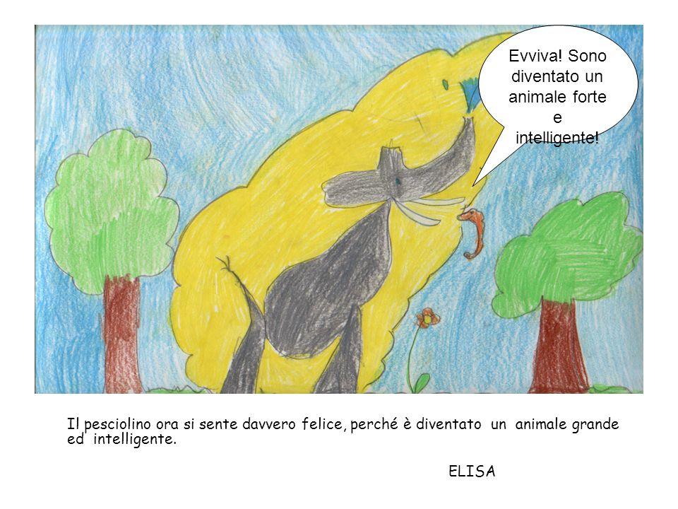 Il pesciolino-elefante si diverte molto a giocare con l acqua e a cogliere i frutti dagli alberi.