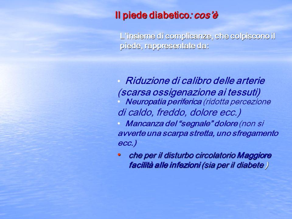 Il piede diabetico: cosè Linsieme di complicanze, che colpiscono il piede, rappresentate da: Riduzione di calibro delle arterie (scarsa ossigenazione