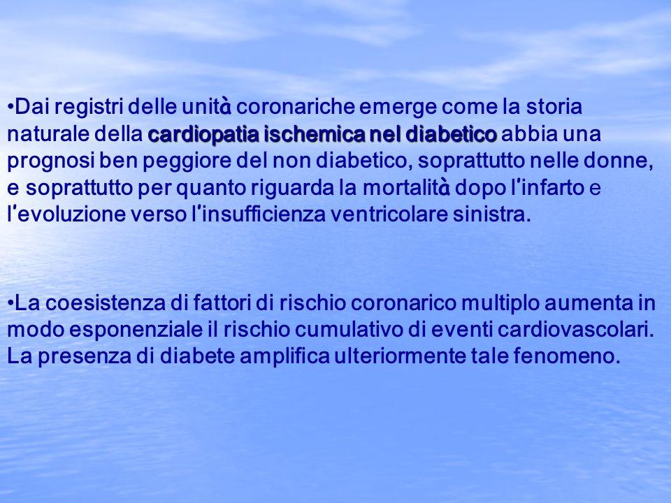 cardiopatia ischemica nel diabeticoDai registri delle unit à coronariche emerge come la storia naturale della cardiopatia ischemica nel diabetico abbi