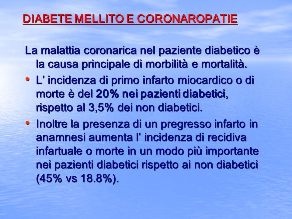 DIABETE MELLITO E CORONAROPATIE La malattia coronarica nel paziente diabetico è la causa principale di morbilità e mortalità. L incidenza di primo inf