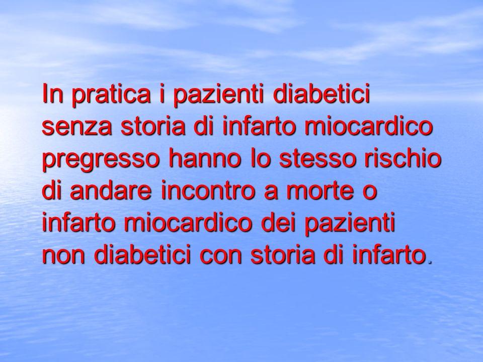 In pratica i pazienti diabetici senza storia di infarto miocardico pregresso hanno lo stesso rischio di andare incontro a morte o infarto miocardico d