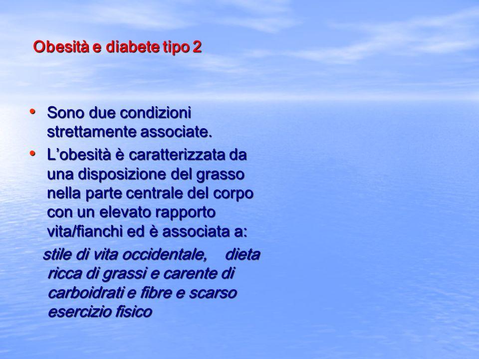 Obesità e diabete tipo 2 Sono due condizioni strettamente associate. Sono due condizioni strettamente associate. Lobesità è caratterizzata da una disp