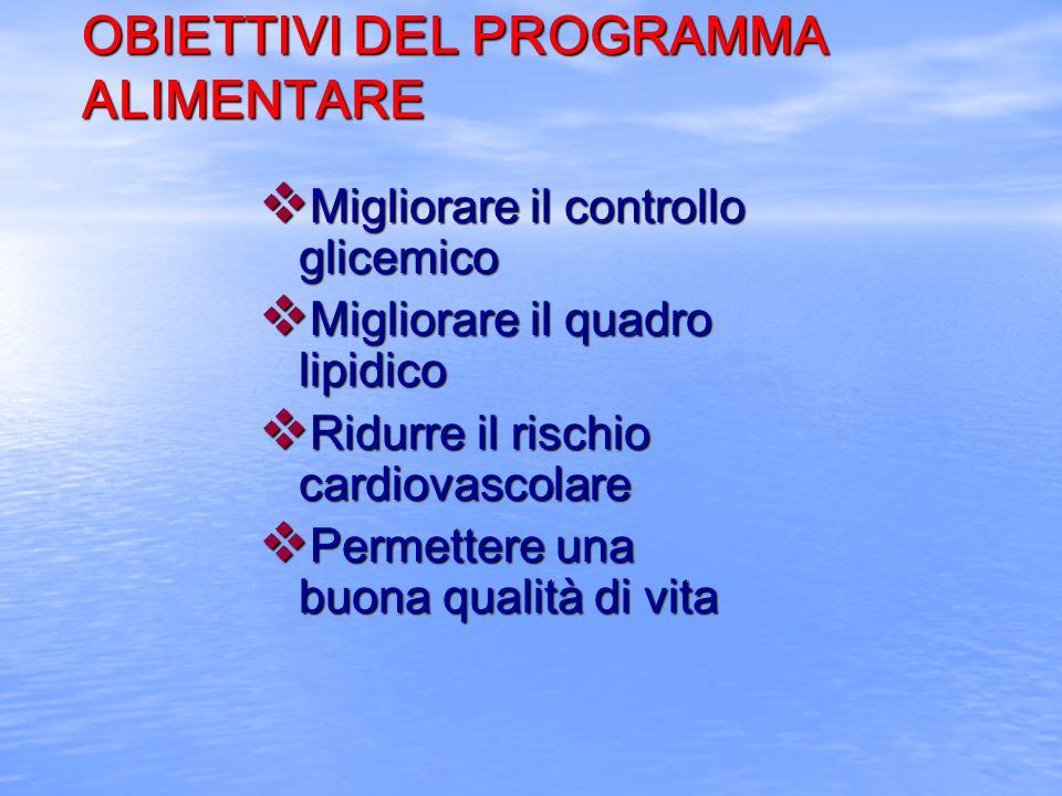 OBIETTIVI DEL PROGRAMMA ALIMENTARE v Migliorare il controllo glicemico v Migliorare il quadro lipidico v Ridurre il rischio cardiovascolare v Permette
