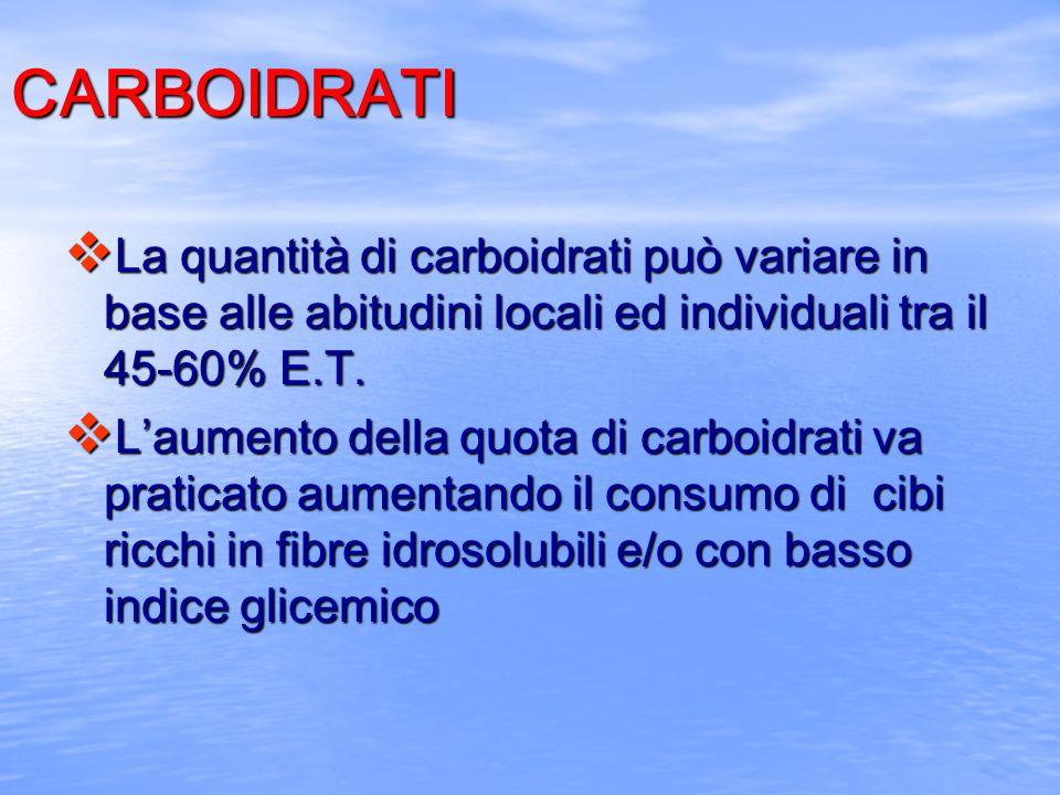 CARBOIDRATI v La quantità di carboidrati può variare in base alle abitudini locali ed individuali tra il 45-60% E.T. v Laumento della quota di carboid