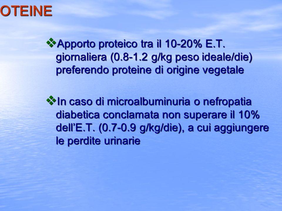 LE PROTEINE v Apporto proteico tra il 10-20% E.T. giornaliera (0.8-1.2 g/kg peso ideale/die) preferendo proteine di origine vegetale v In caso di micr