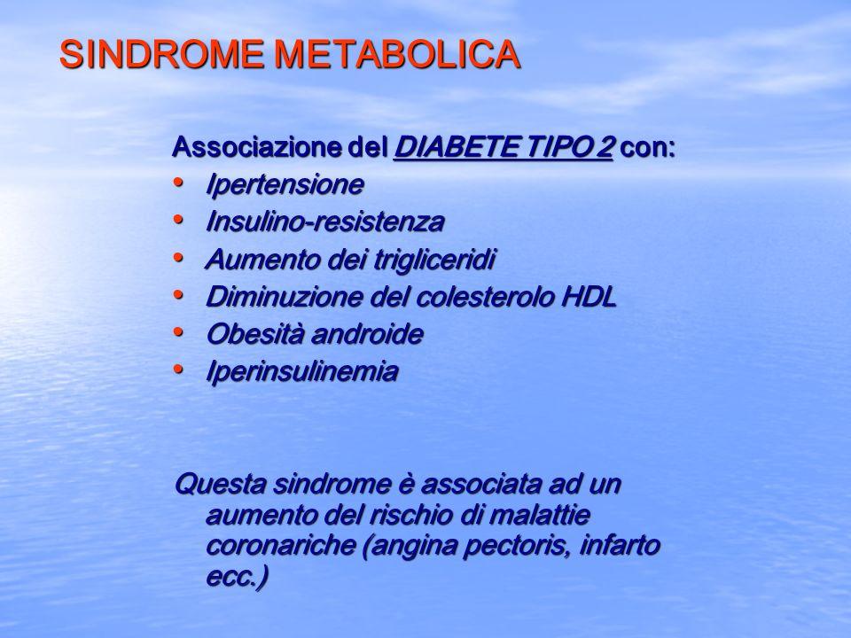 SINDROME METABOLICA Associazione del DIABETE TIPO 2 con: Ipertensione Ipertensione Insulino-resistenza Insulino-resistenza Aumento dei trigliceridi Au