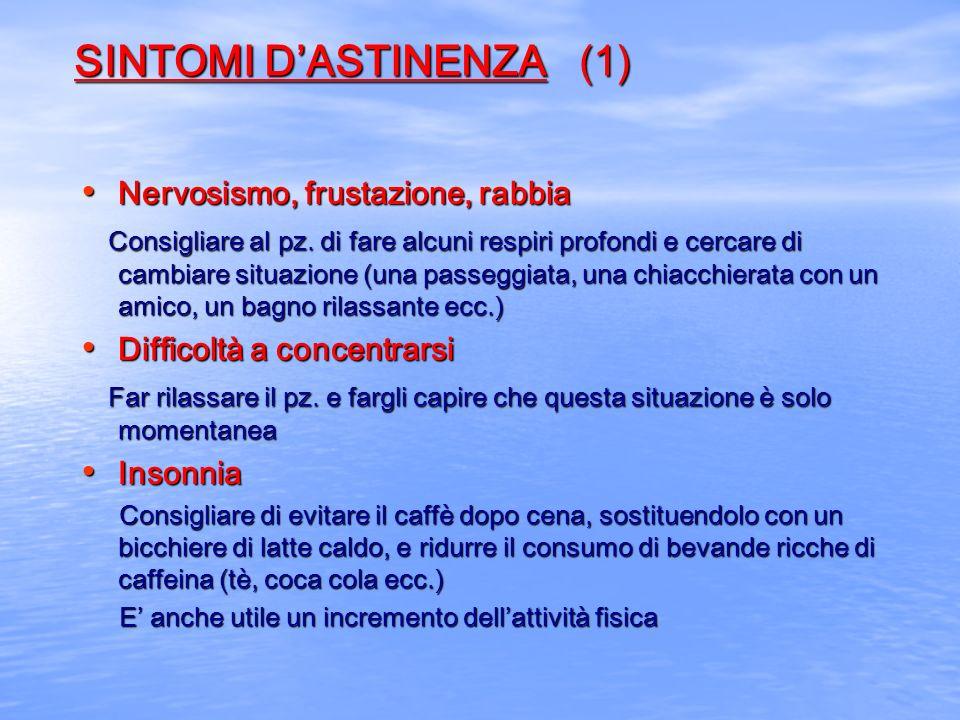 SINTOMI DASTINENZA (1) Nervosismo, frustazione, rabbia Nervosismo, frustazione, rabbia Consigliare al pz. di fare alcuni respiri profondi e cercare di
