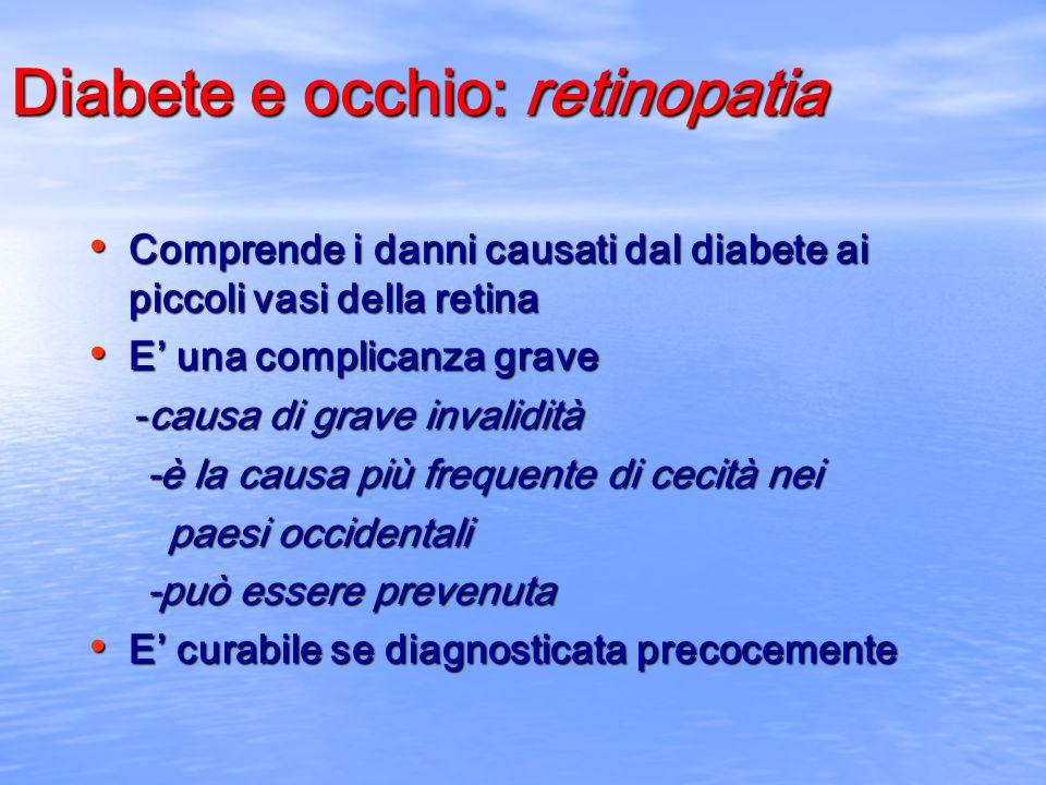 Diabete e rene: nefropatia diabetica La nefropatia è caratterizzata da: La nefropatia è caratterizzata da: -perdita di proteine con le urine -perdita di proteine con le urine -progressiva diminuzione della funzione dei reni -progressiva diminuzione della funzione dei reni -aumento della pressione arteriosa -aumento della pressione arteriosa E una della maggiori cause di ricorso alla dialisi E una della maggiori cause di ricorso alla dialisi