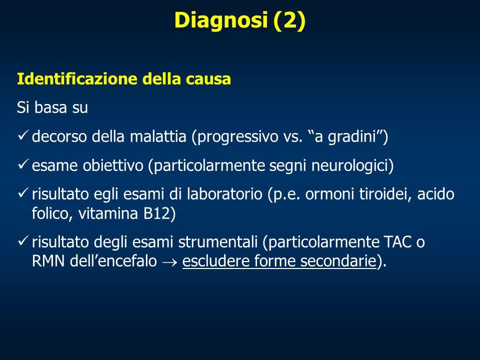 Identificazione della causa Si basa su decorso della malattia (progressivo vs. a gradini) esame obiettivo (particolarmente segni neurologici) risultat