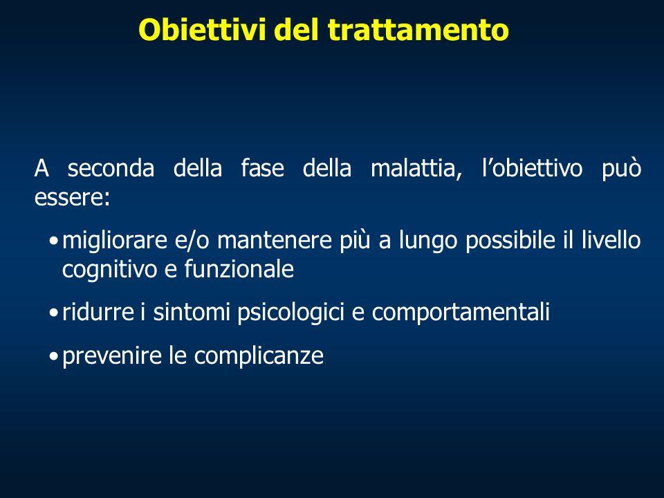Obiettivi del trattamento A seconda della fase della malattia, lobiettivo può essere: migliorare e/o mantenere più a lungo possibile il livello cognit