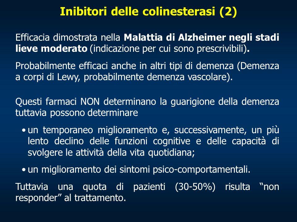 Inibitori delle colinesterasi (2) Efficacia dimostrata nella Malattia di Alzheimer negli stadi lieve moderato (indicazione per cui sono prescrivibili)