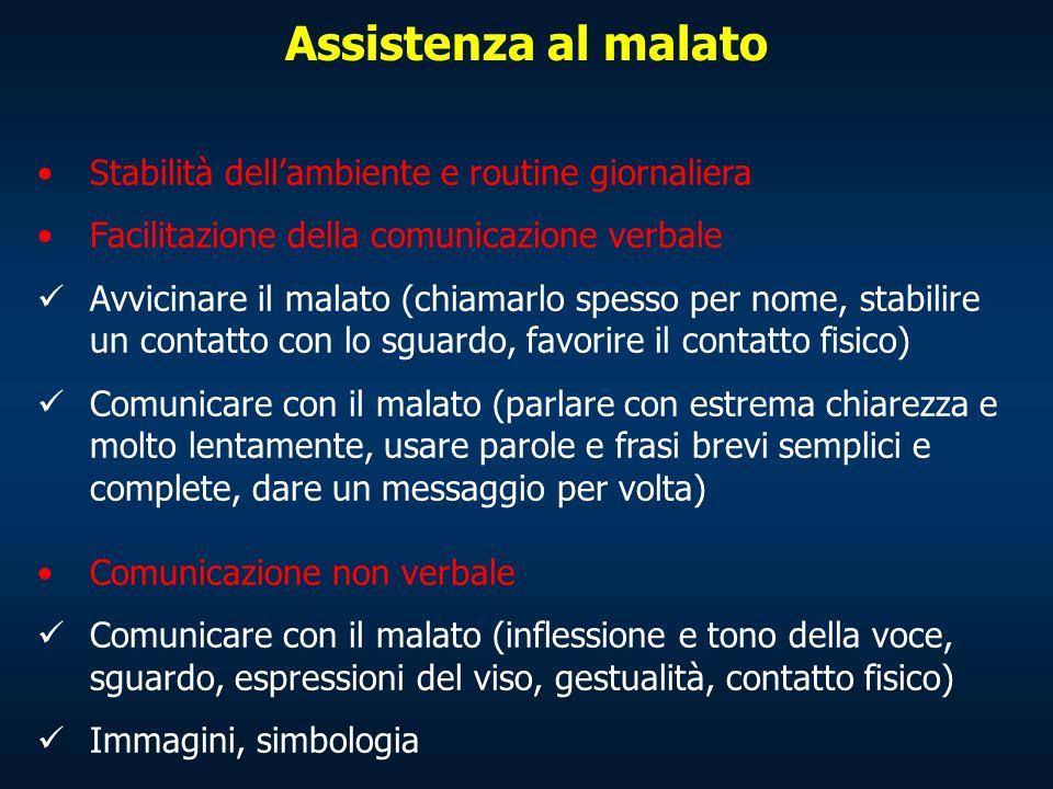 Stabilità dellambiente e routine giornaliera Facilitazione della comunicazione verbale Avvicinare il malato (chiamarlo spesso per nome, stabilire un c