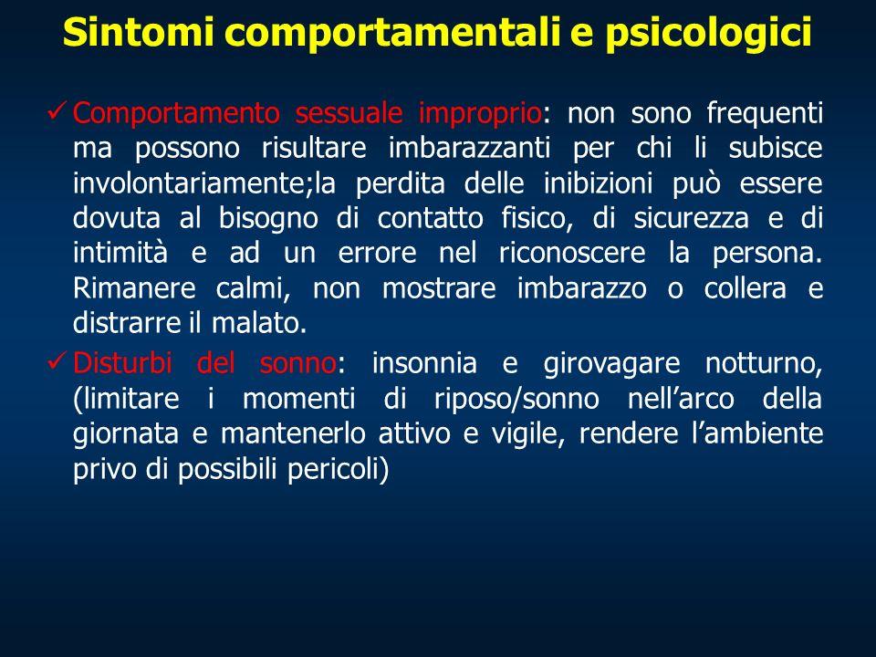 Sintomi comportamentali e psicologici Comportamento sessuale improprio: non sono frequenti ma possono risultare imbarazzanti per chi li subisce involo