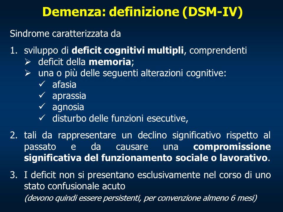 Demenza: definizione (DSM-IV) Sindrome caratterizzata da 1.sviluppo di deficit cognitivi multipli, comprendenti deficit della memoria; una o più delle