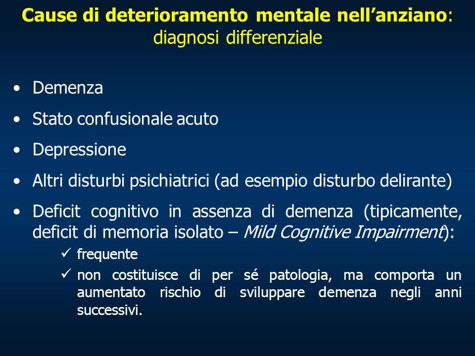 Cause di deterioramento mentale nellanziano: diagnosi differenziale Demenza Stato confusionale acuto Depressione Altri disturbi psichiatrici (ad esemp