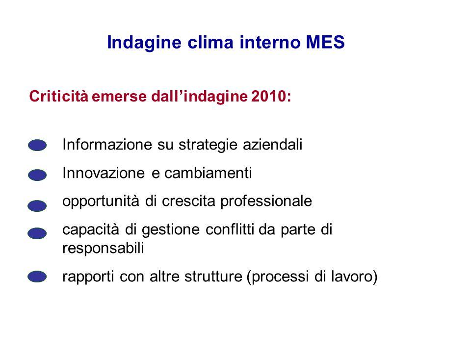 Indagine clima interno MES Criticità emerse dallindagine 2010: Informazione su strategie aziendali Innovazione e cambiamenti opportunità di crescita p