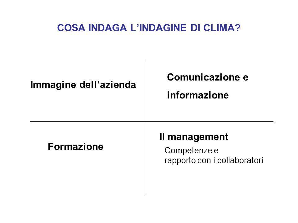 COSA INDAGA LINDAGINE DI CLIMA? Immagine dellazienda Formazione Comunicazione e informazione Competenze e rapporto con i collaboratori Il management