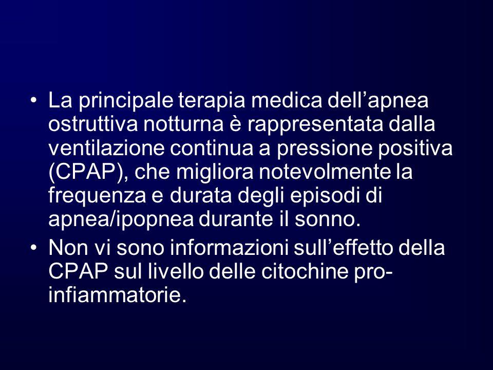 La principale terapia medica dellapnea ostruttiva notturna è rappresentata dalla ventilazione continua a pressione positiva (CPAP), che migliora notev