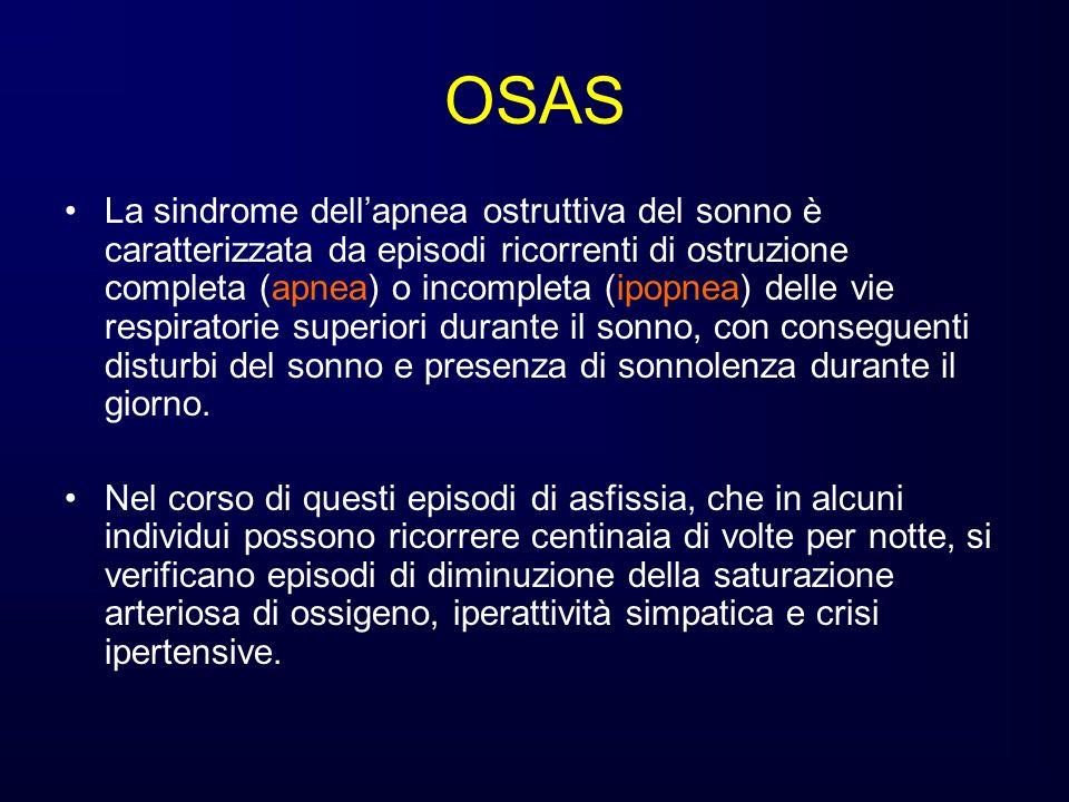 Diagnosi di OSAS La diagnosi si basa sulla presenza di più di 5 episodi di apnea/ipopnea durante la notte.