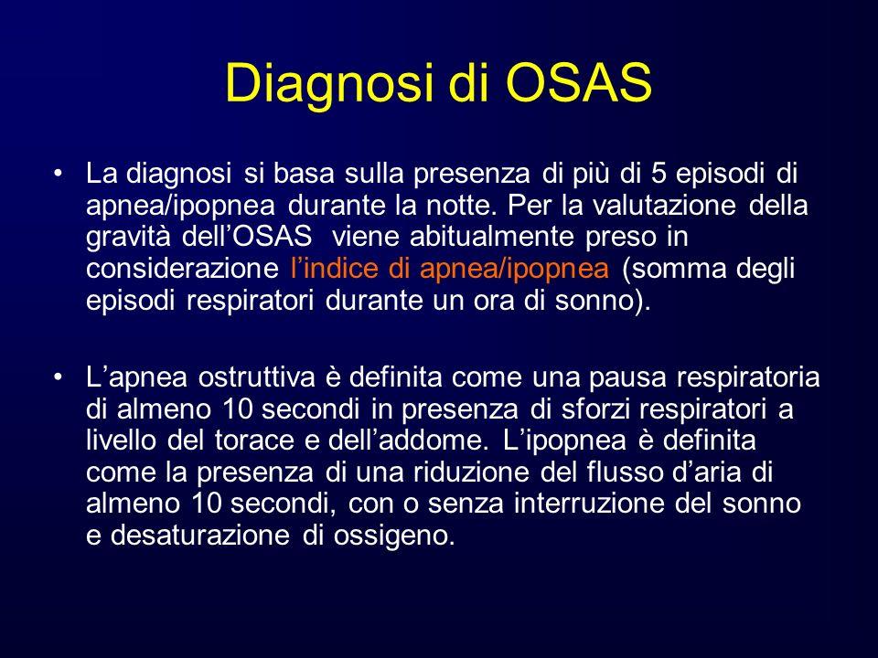 Diagnosi di OSAS La diagnosi si basa sulla presenza di più di 5 episodi di apnea/ipopnea durante la notte. Per la valutazione della gravità dellOSAS v