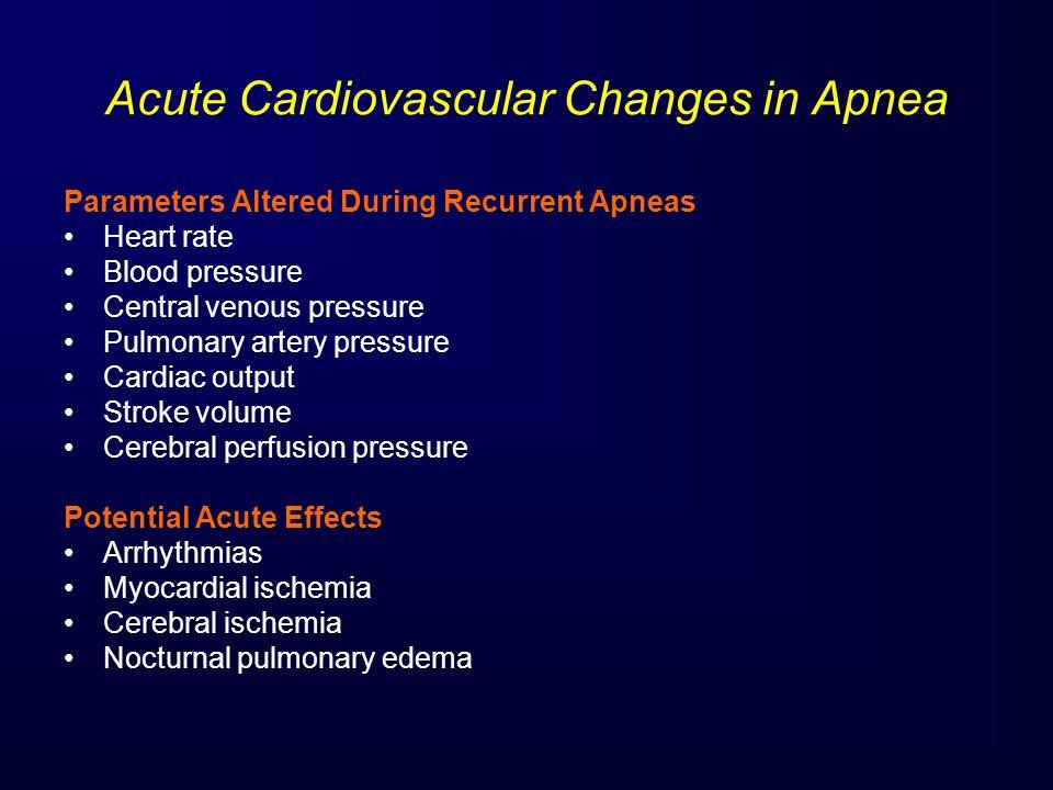Acute Cardiovascular Changes in Apnea Parameters Altered During Recurrent Apneas Heart rate Blood pressure Central venous pressure Pulmonary artery pr