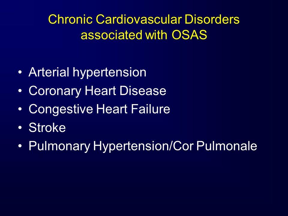 Chronic Cardiovascular Disorders associated with OSAS Arterial hypertension Coronary Heart Disease Congestive Heart Failure Stroke Pulmonary Hypertens