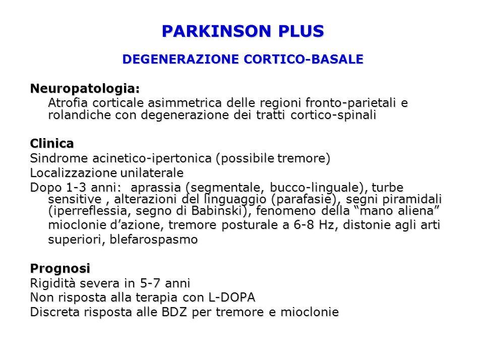 PARKINSON PLUS DEGENERAZIONE CORTICO-BASALE Neuropatologia: Atrofia corticale asimmetrica delle regioni fronto-parietali e rolandiche con degenerazione dei tratti cortico-spinali Clinica Sindrome acinetico-ipertonica (possibile tremore) Localizzazione unilaterale Dopo 1-3 anni: aprassia (segmentale, bucco-linguale), turbe sensitive, alterazioni del linguaggio (parafasie), segni piramidali (iperreflessia, segno di Babinski), fenomeno della mano aliena mioclonie dazione, tremore posturale a 6-8 Hz, distonie agli arti superiori, blefarospasmo Prognosi Rigidità severa in 5-7 anni Non risposta alla terapia con L-DOPA Discreta risposta alle BDZ per tremore e mioclonie