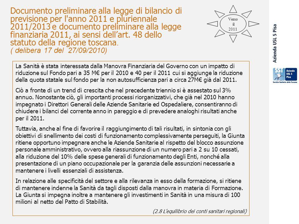 29 settembre 2009 Documento preliminare alla legge di bilancio di previsione per l anno 2011 e pluriennale 2011/2013 e documento preliminare alla legge finanziaria 2011, ai sensi dellart.