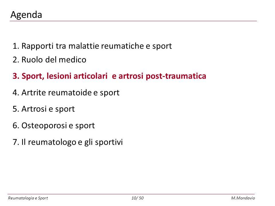 Reumatologia e SportM.Mondavio10/ 50 Agenda 1.Rapporti tra malattie reumatiche e sport 2.