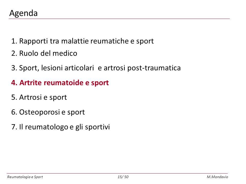 Reumatologia e SportM.Mondavio15/ 50 Agenda 1.Rapporti tra malattie reumatiche e sport 2.