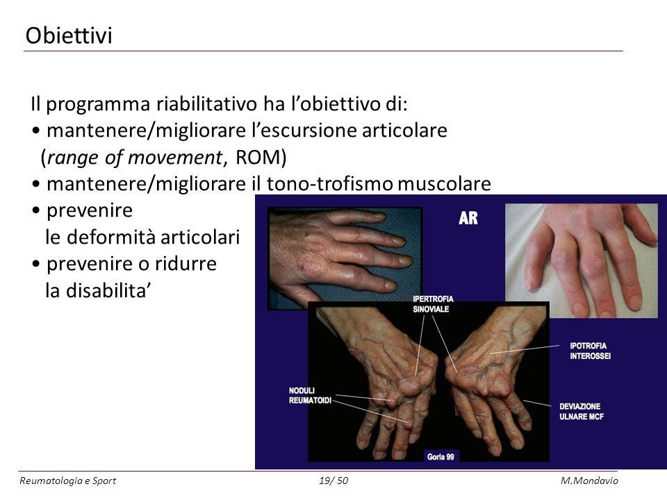 Reumatologia e SportM.Mondavio19/ 50 Obiettivi Il programma riabilitativo ha lobiettivo di: mantenere/migliorare lescursione articolare (range of movement, ROM) mantenere/migliorare il tono-trofismo muscolare prevenire le deformità articolari prevenire o ridurre la disabilita
