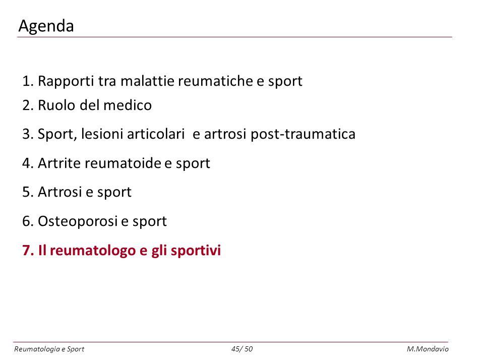 Reumatologia e SportM.Mondavio45/ 50 Agenda 1.Rapporti tra malattie reumatiche e sport 2.