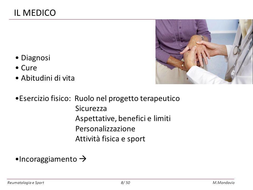 Reumatologia e SportM.Mondavio8/ 50 IL MEDICO Diagnosi Cure Abitudini di vita Esercizio fisico: Ruolo nel progetto terapeutico Sicurezza Aspettative, benefici e limiti Personalizzazione Attività fisica e sport Incoraggiamento