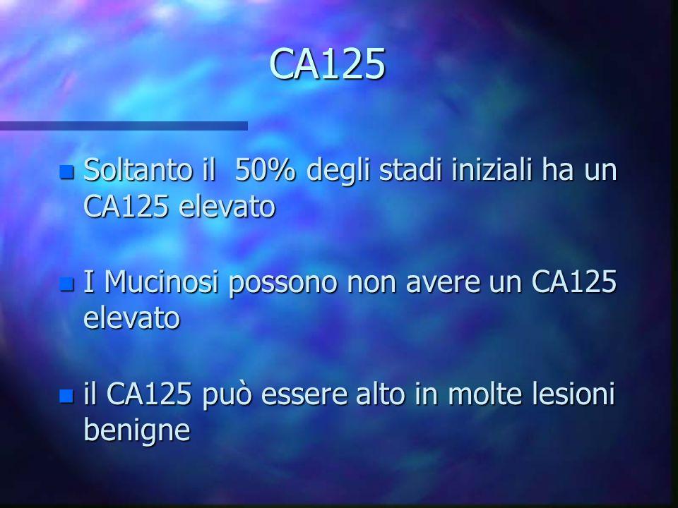 CA125 n Soltanto il 50% degli stadi iniziali ha un CA125 elevato n I Mucinosi possono non avere un CA125 elevato n il CA125 può essere alto in molte l
