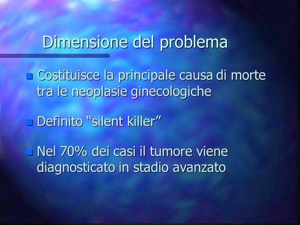 Dimensione del problema n Costituisce la principale causa di morte tra le neoplasie ginecologiche n Definito silent killer n Nel 70% dei casi il tumor