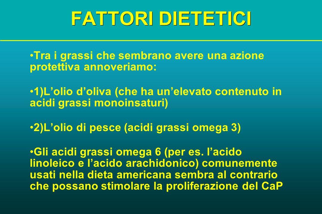 FATTORI DIETETICI Tra i grassi che sembrano avere una azione protettiva annoveriamo: 1)Lolio doliva (che ha unelevato contenuto in acidi grassi monoin