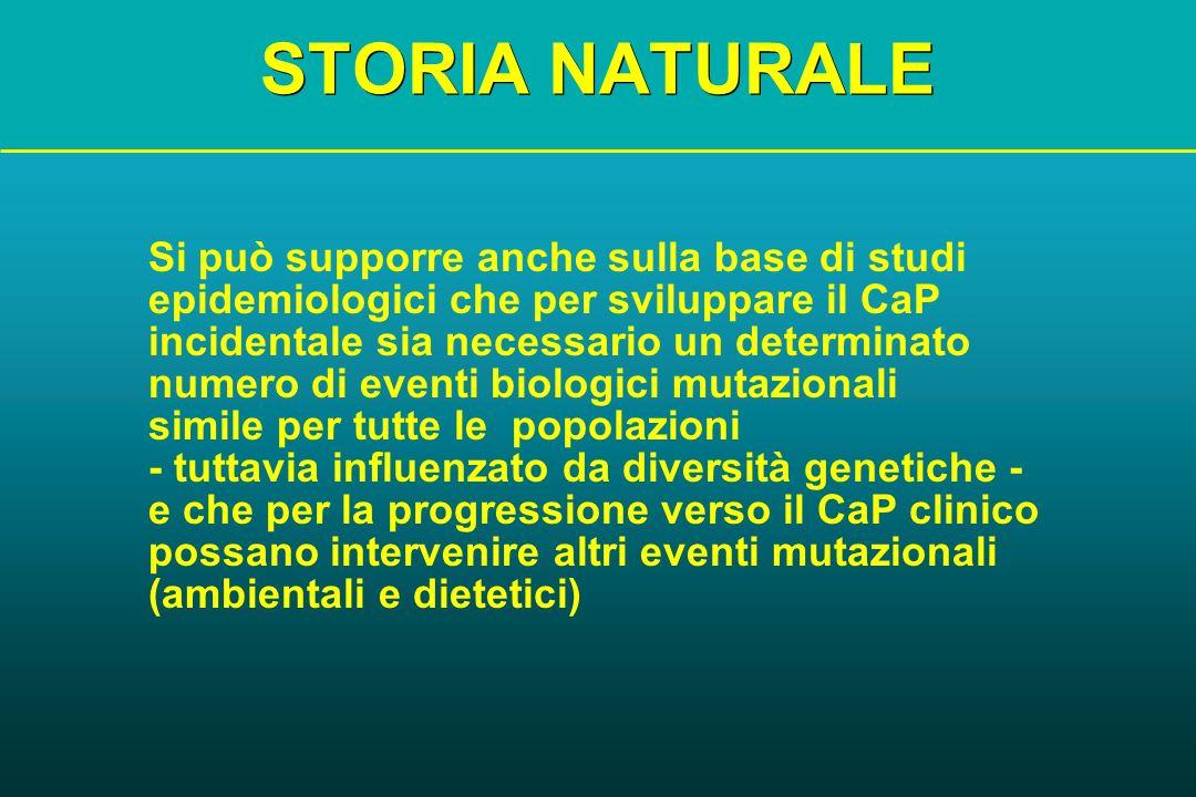 STORIA NATURALE Si può supporre anche sulla base di studi epidemiologici che per sviluppare il CaP incidentale sia necessario un determinato numero di
