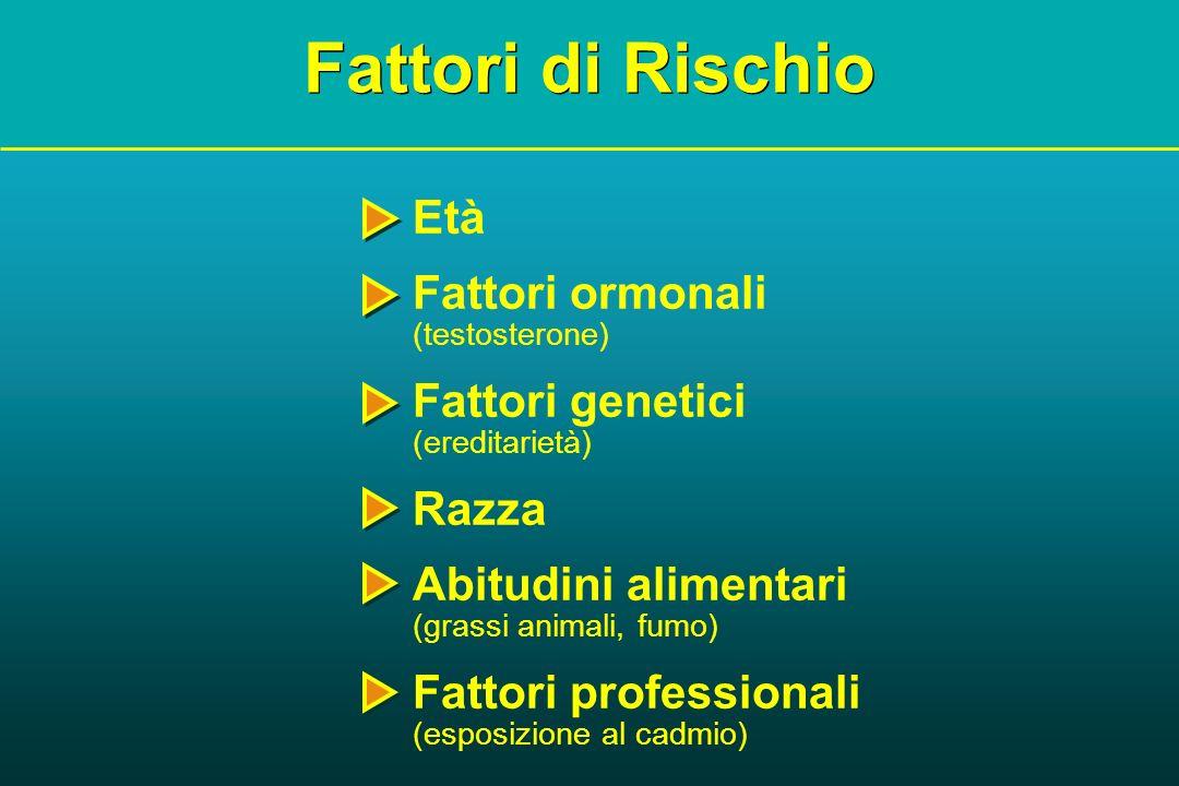 Fattori di Rischio Età Fattori ormonali (testosterone) Fattori genetici (ereditarietà) Razza Abitudini alimentari (grassi animali, fumo) Fattori profe