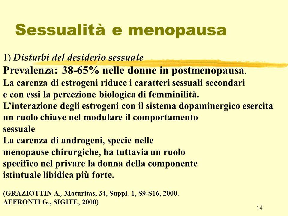 14 Sessualità e menopausa 1) Disturbi del desiderio sessuale Prevalenza: 38-65% nelle donne in postmenopausa. La carenza di estrogeni riduce i caratte
