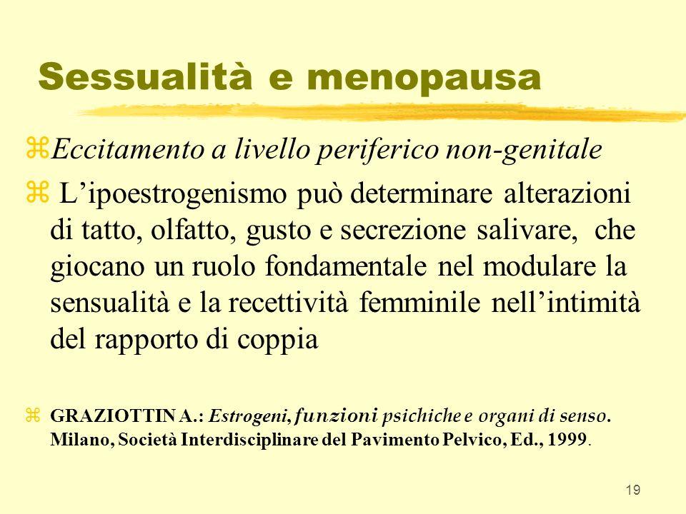 19 Sessualità e menopausa zEccitamento a livello periferico non-genitale z Lipoestrogenismo può determinare alterazioni di tatto, olfatto, gusto e sec