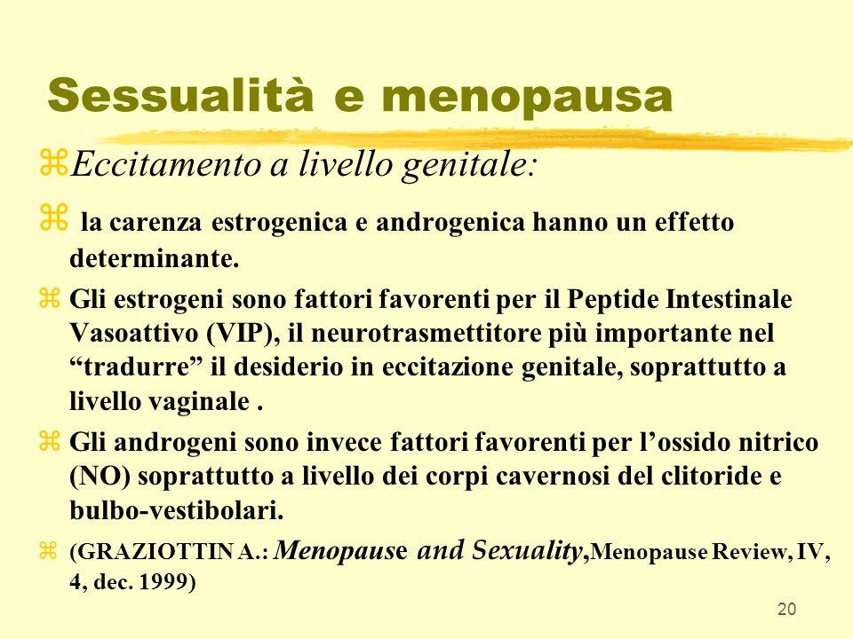 20 Sessualità e menopausa zEccitamento a livello genitale: z la carenza estrogenica e androgenica hanno un effetto determinante. zGli estrogeni sono f