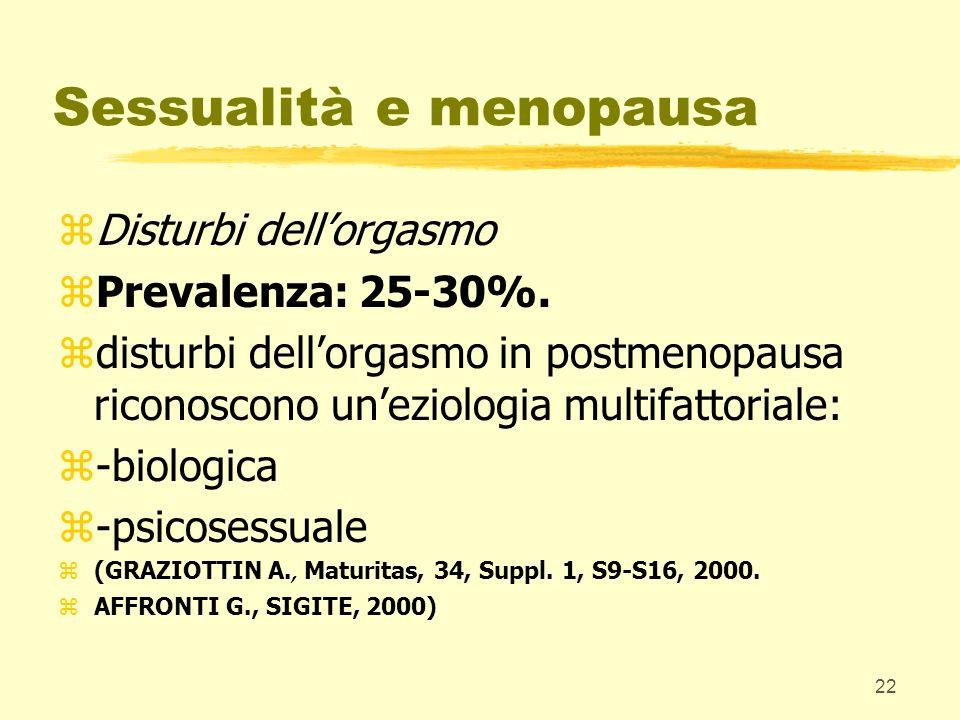 22 Sessualità e menopausa zDisturbi dellorgasmo zPrevalenza: 25-30%. zdisturbi dellorgasmo in postmenopausa riconoscono uneziologia multifattoriale: z